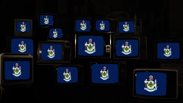 The flag of the State of Maine and Retro TVs.