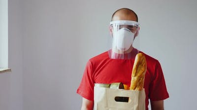 Portrait of Food Delivery Man with Mask