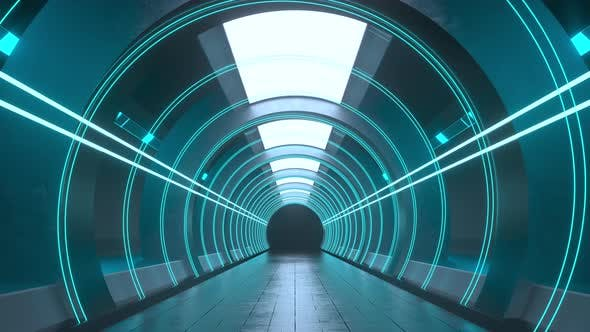 Thumbnail for Dark round tunnel with glowing neon lights.