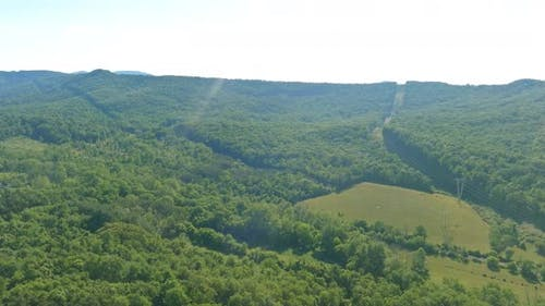 Pocono landscape with green forest mountains in Pennsylvania USA