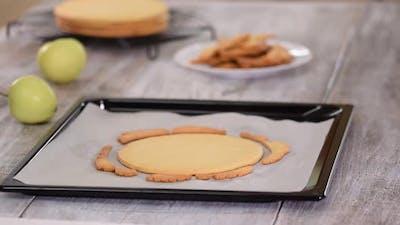 Freshly Baked Shortcrust Pastry for Cake on Baking Sheet
