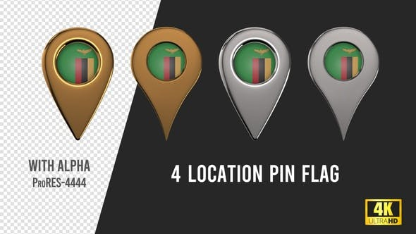 Zambia Flag Location Pins Silver And Gold