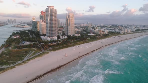 Thumbnail for Aerial Miami Flying Away From South Pointe Beach