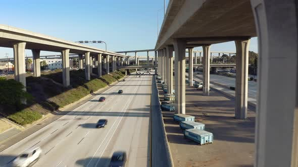 Thumbnail for . The Front View Observation of the Road Traffic on the Ground Level of Los Angeles Freeway