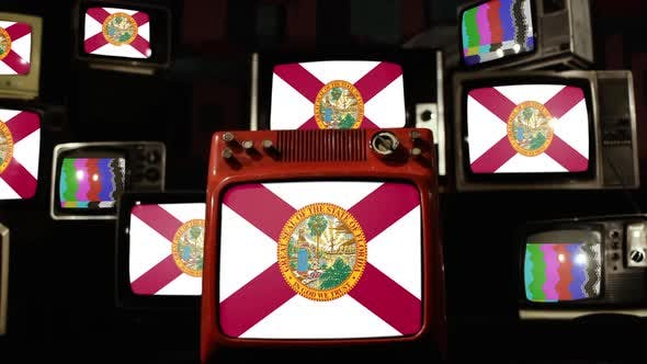 Flag of Florida on Retro TVs.