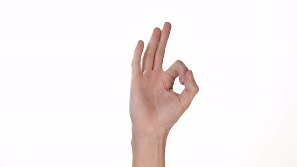 Thumbnail for Hand of a Man on a White Background Is an Isolate That Shows the OK Sign. Place To Insert Text or