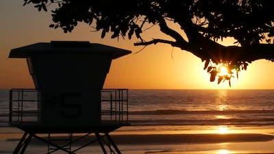 Lifeguard Watch Tower Sunny Sunset Beach