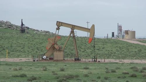 Land Use in Spring Oil Pump Energy Development Rig in Colorado