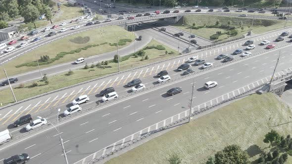 Thumbnail for Kyiv. Ukraine: Road Junction. Aerial View, Flat, Gray