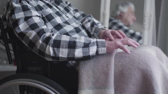 Cover Image for Camera Approaching To Unrecognizable Man's Hands Shaking. Elderly Disabled Man Sitting in Wheelchair