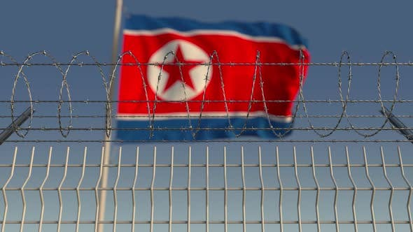 Thumbnail for Barbed Wire Against Waving Flag of North Korea