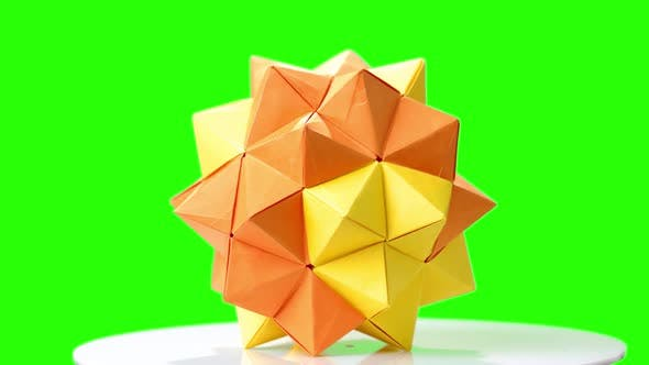 Modular Origami Flower on Green Screen.