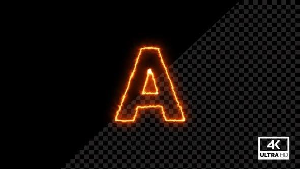 Burning Alphabet Shape A Fire Animation