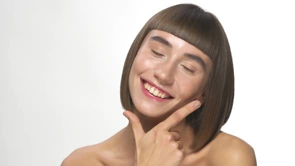Perfect Smile on Brunette with Short Hairstyle