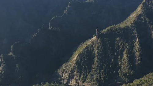 Aerial View of Beautiful Volcanic Mountains Valley Landscape During Sunset in La Palma Island