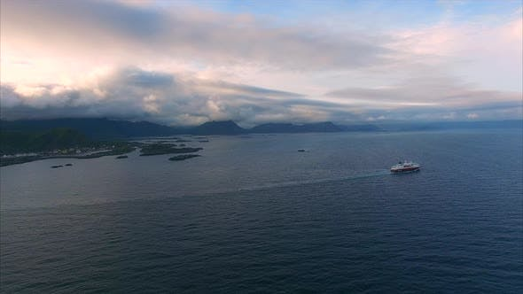 Thumbnail for Cruise ship on norwegian coast, aerial footage