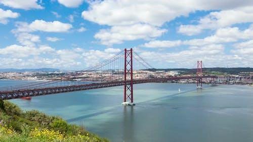 4K timelapse of 25 de Abril (April) Bridge in Lisbon - Portugal - UHD