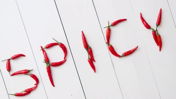 Thumbnail for A Word SPICY Formed with Small Red Chilli Peppers
