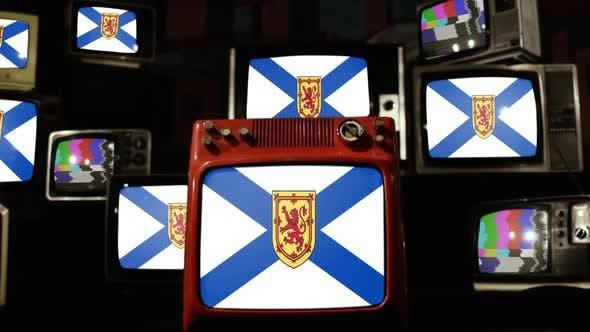 Thumbnail for Flag Of Nova Scotia, Canada, and Retro TVs.