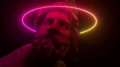Philopoemen Sculpture Illuminated By Neon Light