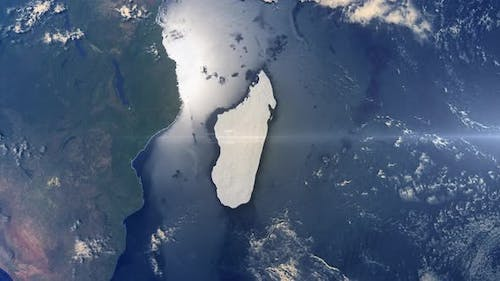 Realistic Earth Zoom Highlight Country Madagascar
