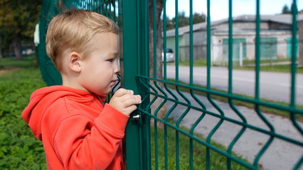 Thumbnail for Little Boy Peering Through A Wire Fence