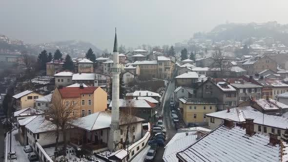 Thumbnail for Aerial Shot Of A Mosque In The Old City Of Sarajevo 3 - Clips