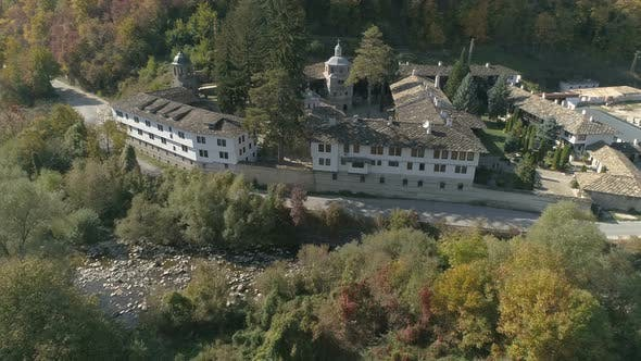 Thumbnail for Above the Third Largest Troyan Monastery with A River Alongside. Bulgaria