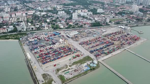 Aerial view container terminal, Butterworth