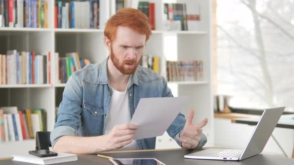 Thumbnail for Angry Casual Redhead Man Tearing Contract, Torn