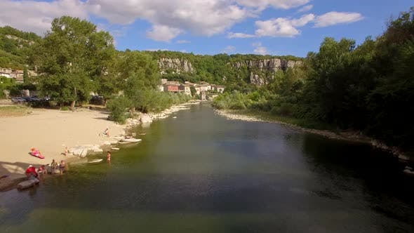 Thumbnail for Aerial travel drone view of Balazuc, Southern France.
