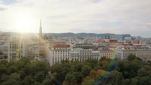 Vienna City Skyline Aerial Shot. AERIAL View of Vienna. St. Stephen's Cathedral and Cityscape