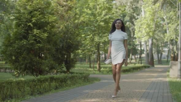 Elegant Female in Stiletto Shoes Strolling Outdoor