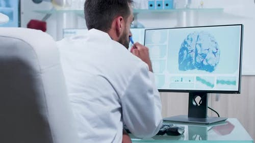 Doctor Analyzing 3D Brain Simulation on a Computer Screen
