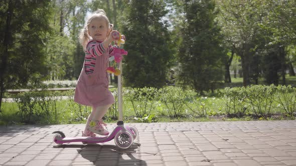 Cover Image for Adorable Little Funny Girl in Pink Dress Riding a Scooter in the Park