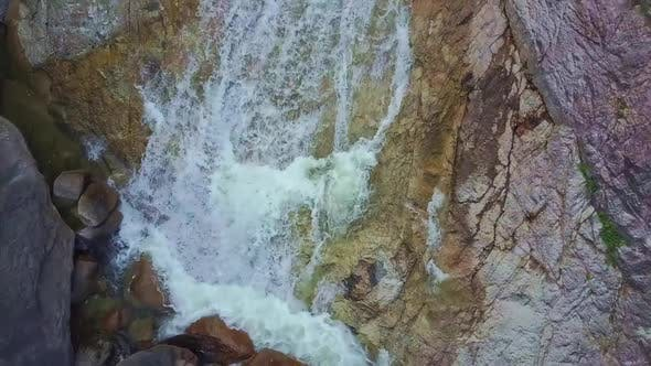 Thumbnail for Flycam Shows Mountain River with Waterfalls Cascades