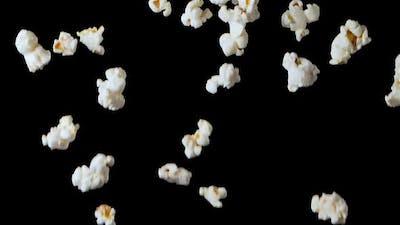 Popcorn Falling Isolated on Black Background
