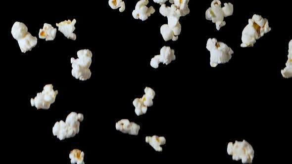 Popcorn Falling Isolated on Black Background