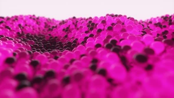 Abstract Cloud of Randomly Glowing Pink Spheres