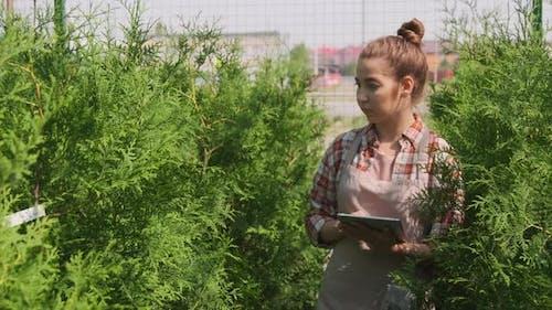 Female Gardener With Tablet In Yard