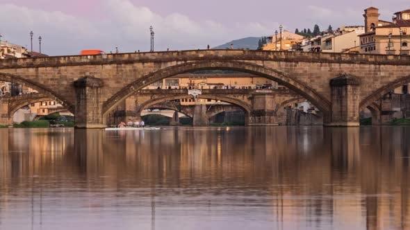 Twilight Hyperlapse of Florence Bridges