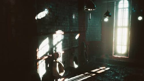Abantoned Old Public Toilet with Bright Lights