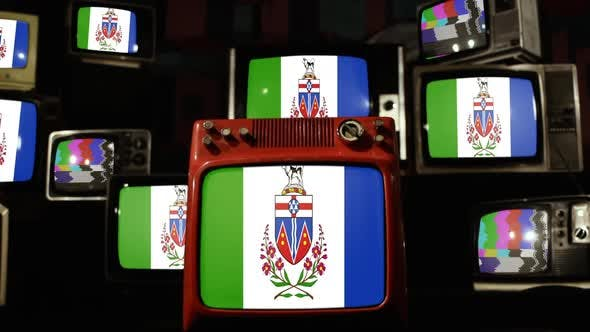 Thumbnail for Flag of Yukon, Canada, and Retro TVs.