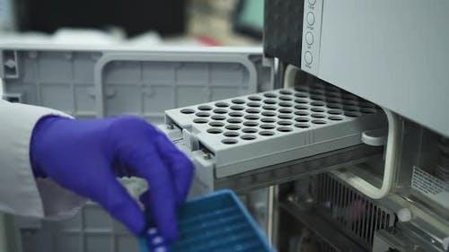 Modern Biochemical Analyzer Filled with Test Tubes