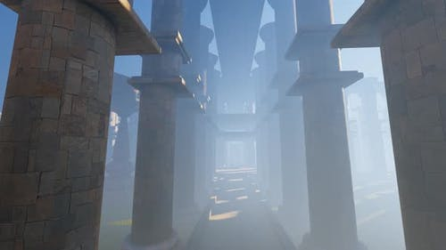 Walking In Ancient Temple