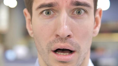 Close Up of Shocked Man Face