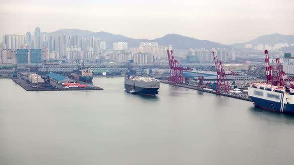 Incheon Cargo Ship Transportation in Korea Port