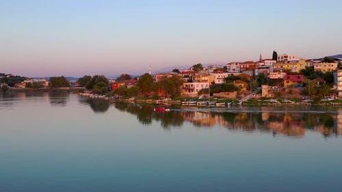 Fishing boat on lake at sunset golyazi , bursa turkey