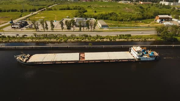 Thumbnail for Aerial view:Barge on the River