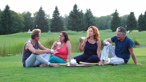 People Drinking Tea on Summer Nature Background